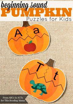 FREE Beginning Sound Pumpkin Puzzles. Fun ABC activity for fall! Theme Halloween, Halloween Activities, Autumn Activities, Halloween Ideas, Alphabet Activities, Classroom Activities, Preschool Activities, Kids Alphabet, Alphabet Cards