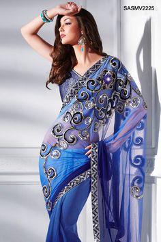 Sequin Essence Shaded Blue Net Saree  CBazaar