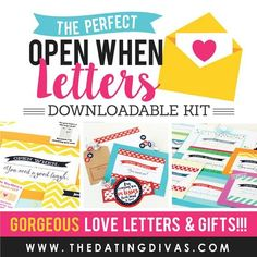 Free printables to make your own Open When Letters! The perfect romantic, meaningful (but still simple and inexpensive) gift idea for your man.