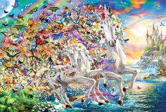 Find Unicorn Fantasy puzzles at Eurographics 2000 Piece Puzzle, Free Online Jigsaw Puzzles, Unicorn Fantasy, Cartoon Unicorn, Fairy Tales, Flowers, Painting, Fairytale, Painting Art