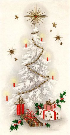 Perfectly lovely and not to much color so easy to print at home! --- Vintage Christmas Card-1950's...