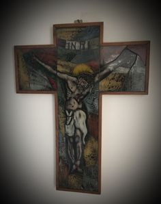 My collection - painted glass crucifix Jesus Christ