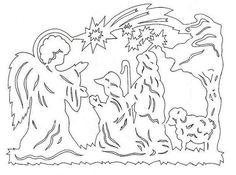 "Vytynanka ""Angel and the Magi"" Kirigami Patterns, Christmas Nativity, Christmas Crafts, Origami Nativity, Nativity Clipart, Stencils, Wood Carving Patterns, Decorating With Christmas Lights, Christmas Templates"