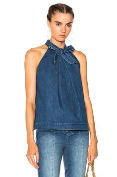 Ulla Johnson Mako Top in Denim Fashion Moda, Denim Fashion, Womens Fashion, Denim Top, Blue Denim, Mode Jeans, Denim Ideas, Denim Crafts, Ulla Johnson