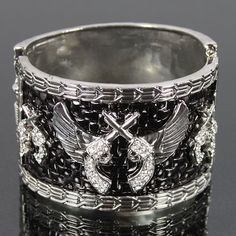 Double Gun & Angel Wings Snap Closure Bangle FC51795-B1424 $9.99