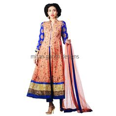Heavy Embellished Anarkali With Raw Silk Crop Pants