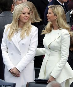 Tiffany Trump and Ivanka Trump arrive on the West Front of the U. Capitol on January 2017 in Washington, DC. In today's inauguration ceremony Donald J. Trump becomes the president of the United States. Inauguration Day 2017, Inauguration Ceremony, Ivanka Trump Photos, Ivanka Trump Style, Ojos Kendall Jenner, Trump Kids, Trump Children, Donald Trump Family, First Ladies