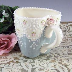 Lace Sweetheart Mug by RomancingTheTeapot on Etsy