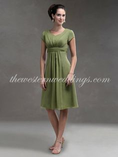Cheap Western Dresses Online Cheap A-Line Other Necklines Knee Length Satin & Chiffon Bridesmaid / Wedding Party / Cocktail / Homecoming Dre...