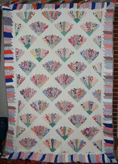 grandmother's fan quilt images | GORGEOUS Vintage 30's Grandmother's Fan Antique Quilt with Piano Key ...