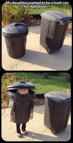 Trash Can Halloween Costume @aklarer1035  I could see you or your child doing this!! haha too funny