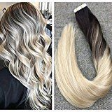 """Ugeat 22"""" Tape in Hair Extensions Real Remy Hair 20Pcs 50Gram Tape in Extensions Human Hair Thick End Seamless Tape in Skin Weft Blonde Balayage Color"""
