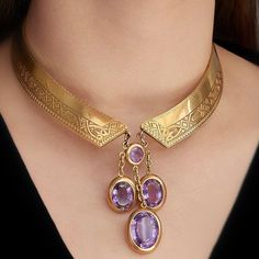 Starting off the week with a statement! Featured, an antique French gold collar … Starting off the week with a statement! Featured, an antique French gold collar necklace with amethyst! So stylish and of course, très… Purple Jewelry, Jewelry Accessories, Jewelry Design, Silver Jewelry, Antique Jewelry, Vintage Jewelry, Handmade Jewelry, Long Pearl Necklaces, Diamond Necklaces