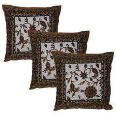 Off White Cotton Pillow Case Cover Set of 3 from India 40.64 cms x 40.64 cms