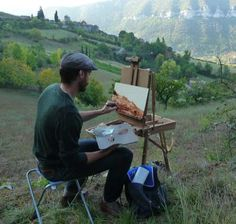 Erik Koeppel painting on location in France. Read about a recent Florida exhibition of Koeppel's paintings at http://www.outdoorpainter.com/whats-current-and-whats-coming/erik-koeppels-amazing-paintings.html