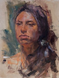 """""""Marcella"""" (oil on panel, 12""""x16"""") painted at the The Coppini Academy of Fine Arts. I can feel the effect of a year of plein air painting on my portraits.  Thanks to Kimberly at Saunders Fine Arts for the photo.  #patricksaunders #patricksaundersfinearts #patricksaundersfineart #pleinairstreaming #saundersfinearts #coppiniacademyoffinearts #portraitstudy #oilportrait #oilpainting #portraitpainting #portraitpainter #portraitureinoils"""