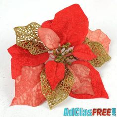 Everything Else , Three Layer Red Gold Flower Christmas Tree Decoration Description: Material: PVC Color: Red Dimensions: Weight:. Christmas Flowers, Christmas Wedding, Christmas Tree Decorations, Christmas Tree Ornaments, Gold Powder, Unique Christmas Gifts, Xmas Holidays, Gold Flowers, Festival Party