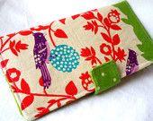 Birds on a Perch in Green - ECHINO Japanese Handmade  Long Wallet  BiFold Clutch #EasyPin