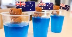 Here's a cute idea for the kiddos for Australia Day : Koalas In The Surf! You will need: Blue jelly crystals Caramello Koalas Clear plastic cups Australia flag toothpicks Step 1 Make the jelly as per the instructions on the box and … Australian Party, Australian Food, Australia Day Celebrations, Aus Day, Australia Crafts, Christmas Lunch, Aussie Christmas, Australian Christmas, Jelly Crystals