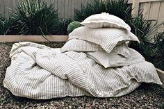 Striped natural linen pillowcase. Standard by HouseOfBalticLinen