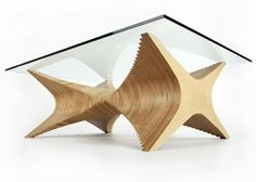 X-grow table-Baltic birch and glass by Cerno