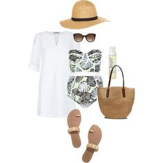 Beach Chic by thelifeoftheparty on Polyvore featuring polyvore fashion style Hobbs River Island Tory Burch J.Crew Monsoon Supergoop!
