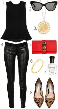 ALC black Peplum Top, The Row Cat Eye Sunglasses, Gorjana Necklace, Siwy Mick Leather Jeans, Vince Camuto Louise Pyramid Stud Clutch, Jacquie Aiche Diamond Ring, Diane von Furstenberg Alice Kitten leopard Heel, Leopard