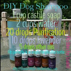 DIY homemade dog shampoo using Young Living Essential Oils
