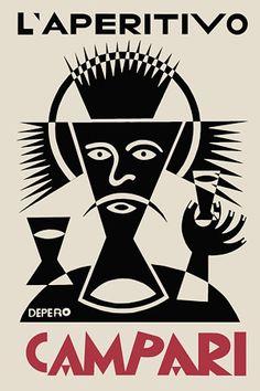 L'Aperitivo Campari by Fortunato Depero (1892-1960). He was an Italian futurist painter, writer, sculptor and graphic designer.