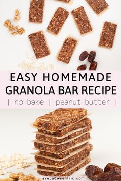 This vegan peanut butter no-bake granola bars recipe is healthy, simple & naturally sweetened. They're oil-free, easy to make, chewy, quick & gluten-free! Vegan Snacks On The Go, Best Vegan Snacks, Quick Healthy Snacks, Healthy Vegan Desserts, Vegan Recipes Easy, Healthy Baking, Snacks Recipes, Vegan Sweets, Brunch Recipes