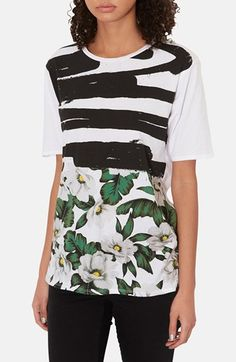 Topshop - Graphic Floral Print Cotton Tee (in White) www.nordstrom.com $36.00