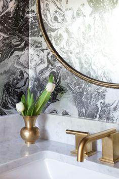 the amazing erin williamson | brass faucet | marbelized wallpaper #bathroom ideas