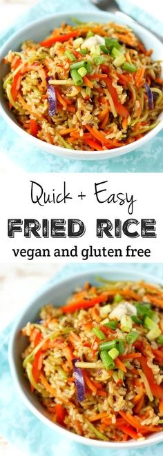 Easy Fried Rice Quick and easy gluten free and vegan fried rice. An easy meal for busy days. * just add some chicken for protein *Quick and easy gluten free and vegan fried rice. An easy meal for busy days. * just add some chicken for protein * Quick Fried Rice, Vegan Fried Rice, Vegan Fries, New Recipes, Whole Food Recipes, Vegetarian Recipes, Cooking Recipes, Healthy Recipes, Lunch Recipes