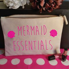 Mermaid Essentials Makeup Bag. Mermaid Bag. Mermaid Accessory Bag. Mermaid Makeup Bag. Mermaid Cosmetic Bag. I'm really a Mermaid. by SoPinkUK on Etsy