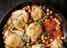 Chilly Day? Make Spicy, Pan-Roasted Chicken with Chickpeas - Bon Appétit  SO yummy and easy!  The fam loved the flavor.  Super good with crusty fresh bread or rice.