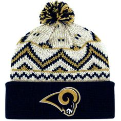 bbdc92c0 ST LOUIS RAMS OATMEAL / NATURAL Cuffed Pom Knit Beanie Hat Ski Cap BY  REEBOK by
