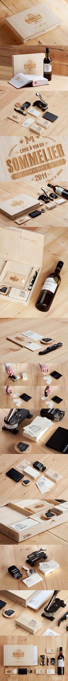 #Identidad #corporativa #packaging para vinos, clásica, con madera y muy acertada Сомелье Марков Анатолий, Identity © Павел Емельянов