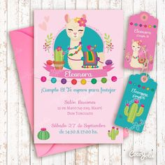 Kit Imprimible Llamita Altiplano. Personalizable One Year Birthday, 9th Birthday Parties, Girl Birthday Themes, 11th Birthday, Baby Birthday, Birthday Party Invitations, Llama Birthday, Animal Birthday, Kids Party Decorations