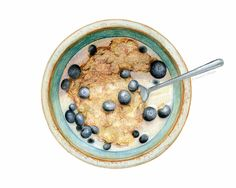 Cereal with Blueberries, by Kendyll Hillegas | 9x12, mixed media on paper