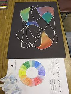 (opaque) white glue on black paper with chalk pastels in primary colors only - must make their own secondary colors