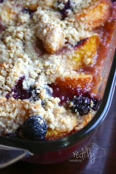 A great way to turn fresh summer fruits into something delicious! Blueberry Peach Crisp is an easy dessert recipe that combines a gooey layer of fruit with a cinnamon crumble on top.