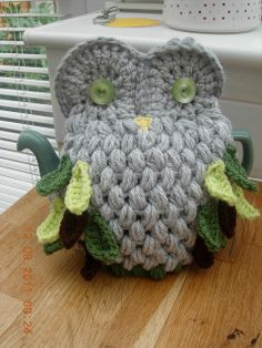 ❥Knit & Crochet Tea Cosies, Mug Hug Snugs and Cuppa Cosies.   Owl Cosy