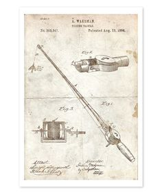 Look what I found on #zulily! Fishing Rod 1884 Parchment Art Paper by Oliver Gal #zulilyfinds