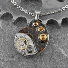 Steampunk Ammonite Fossil Necklace - The Fossilized Spiral of Time by COGnitive Creations
