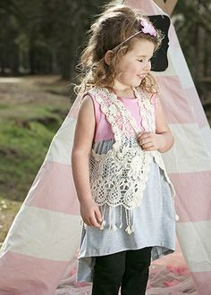The Hair Bow Company | Pink & Grey Hi-Low Tunic with Ivory Crochet Lace Vest for Girls