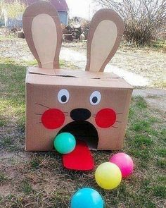 Easter Bunny bowling for kids - can be easily placed outdoors or indoors on a rainy day!