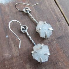 Geode Earrings Sterling Silver Drusy Druzy Dangling by artdi, $95.00 - I want these so bad