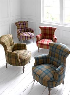 Tartan Armchairs - Ideas on Foter Tartan Chair, Tartan Fabric, Poltrona Bergere, Poltrona Vintage, Take A Seat, Upholstered Chairs, Sofa Chair, Wingback Chairs, Country Decor