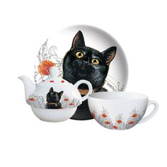 "Black Cat ""Summer Days"" Teapot For One"