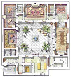 "Resultado de imagem para ""riad"" ""floor plan"" home interior garden Courtyard House Plans, House Floor Plans, Round House Plans, Interior Garden, Interior And Exterior, Planer Layout, Riad, Islamic Architecture, Garden Architecture"